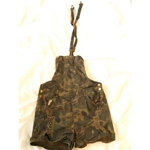 Pants - Army Print Overall Shorts